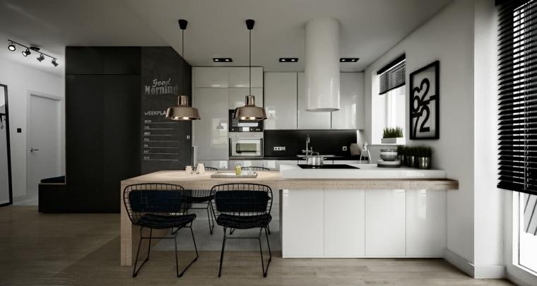 estilo escandinavo cocinas diseno combinacion blanco negro ideas