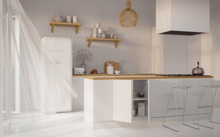 estilo escandinavo cocinas diseno encimeras madera ideas