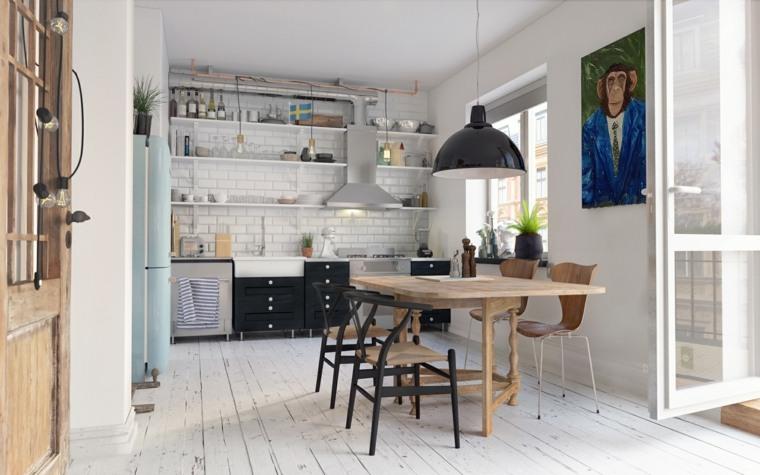 estilo escandinavo cocinas diseno estantes abiertos ideas
