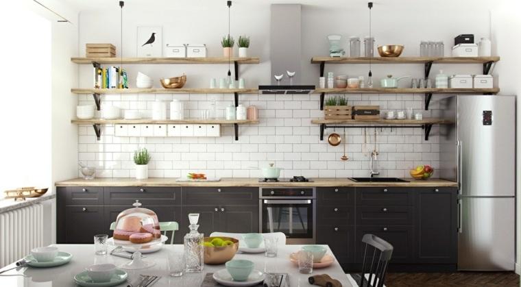 estilo escandinavo cocinas diseno estantes ladrillo ideas