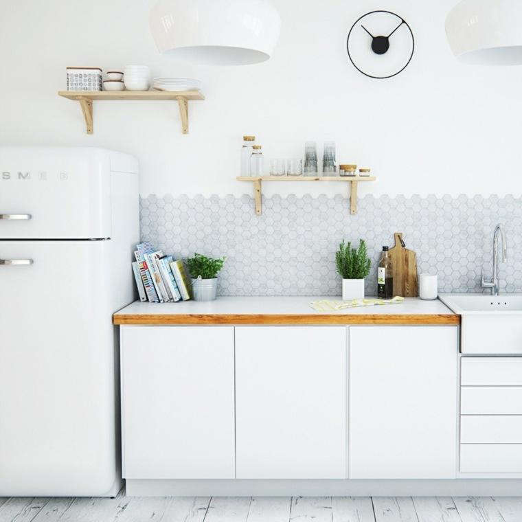 estilo escandinavo cocinas diseno estantes madera ideas