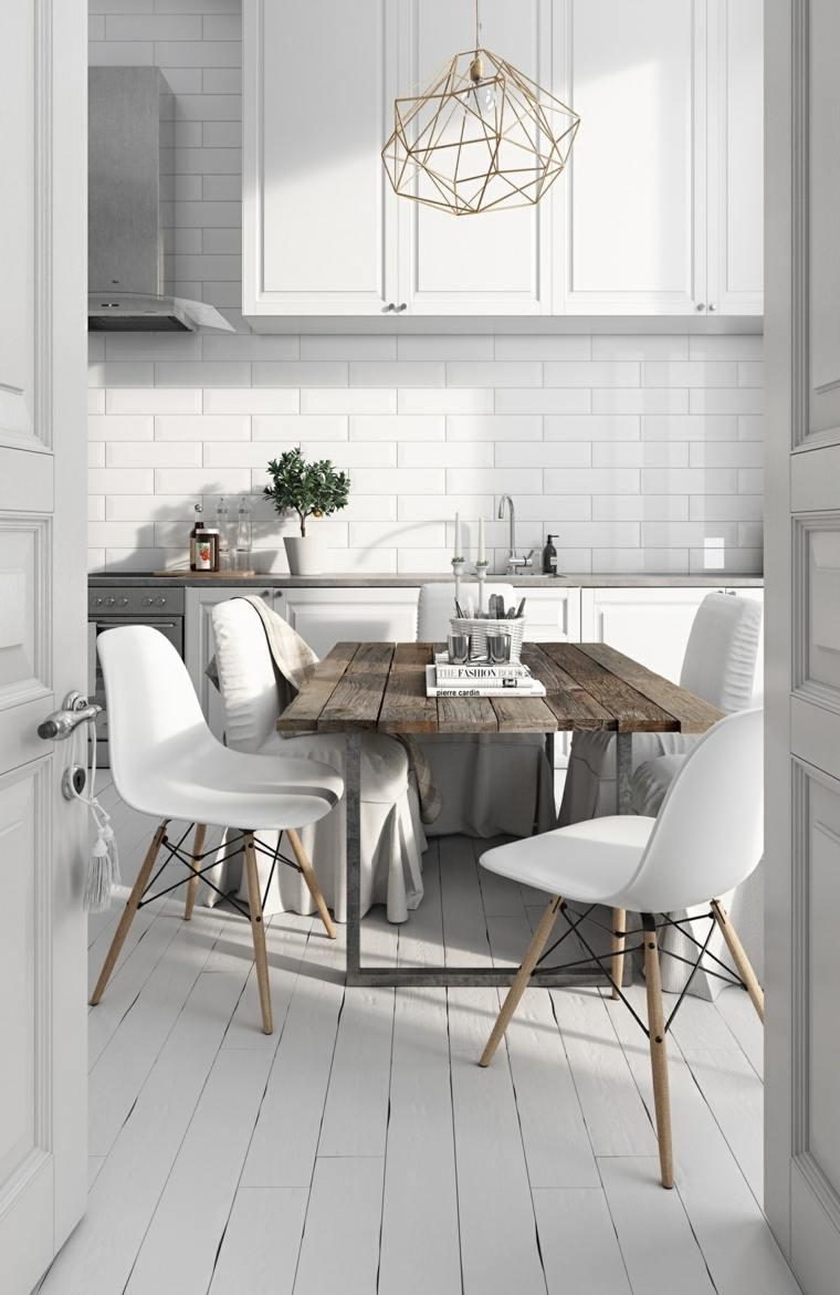 estilo escandinavo cocinas diseno mesa madera comedor ideas