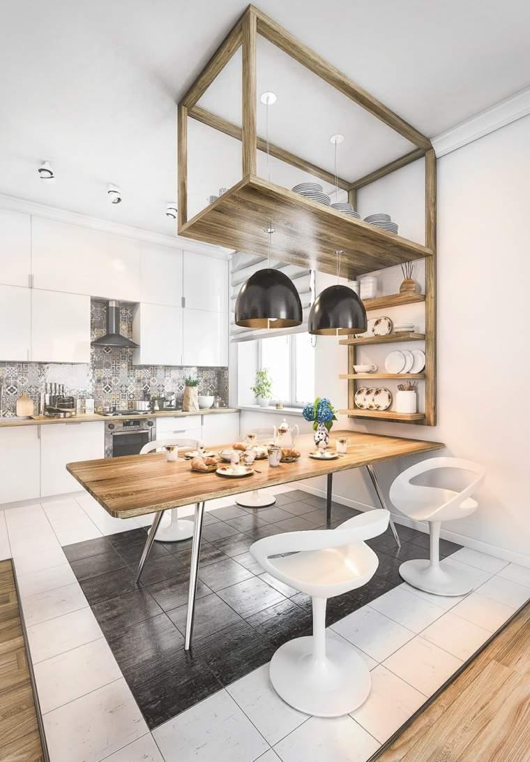 estilo escandinavo cocinas diseno muebles blancos madera ideas