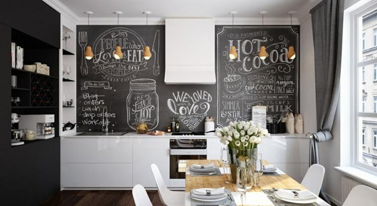 estilo escandinavo cocinas diseno pared pizarra ideas