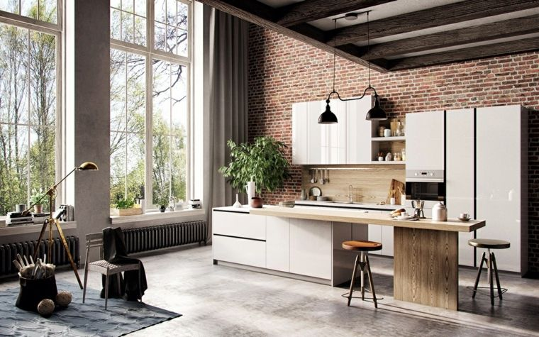 estilo escandinavo cocinas diseno paredes ladrillo expuesto ideas