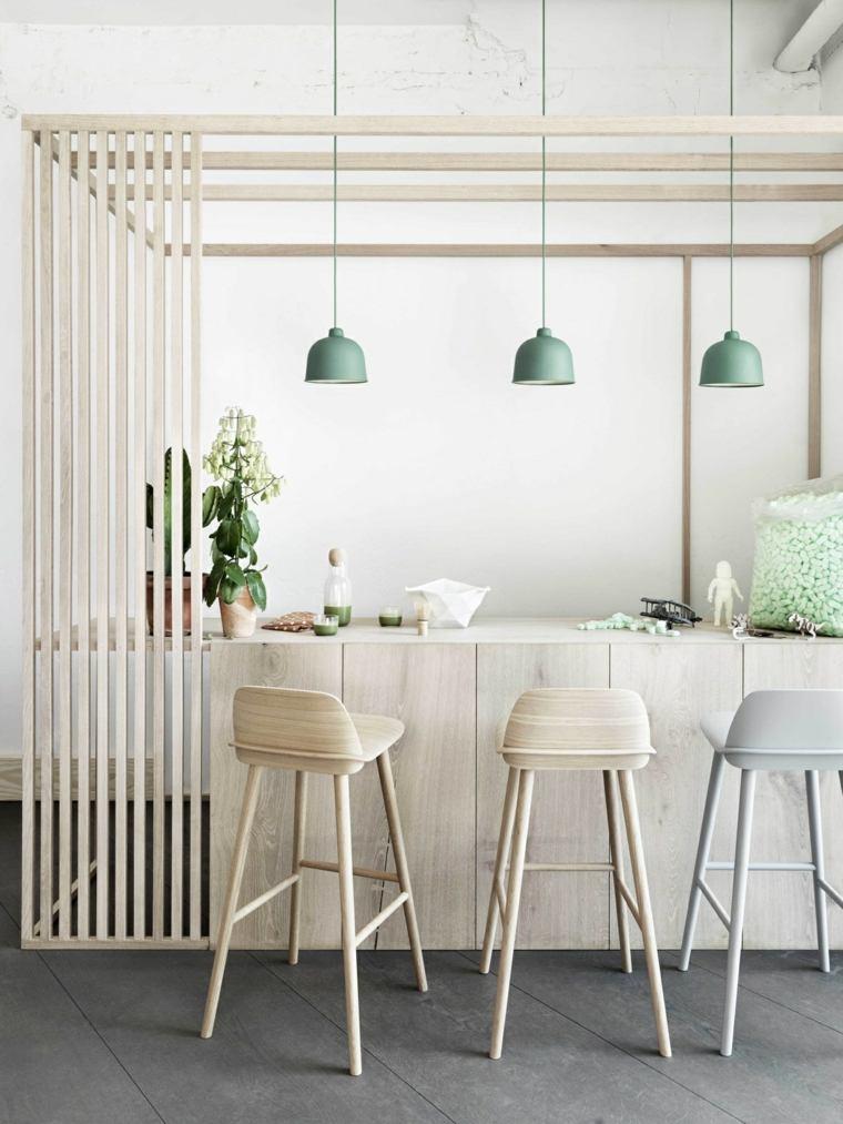 estilo escandinavo cocinas diseno taburetes altos ideas