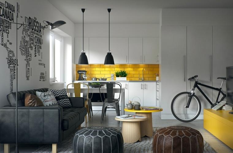 estilo escandinavo cocinas diseno toques color amarillo ideas