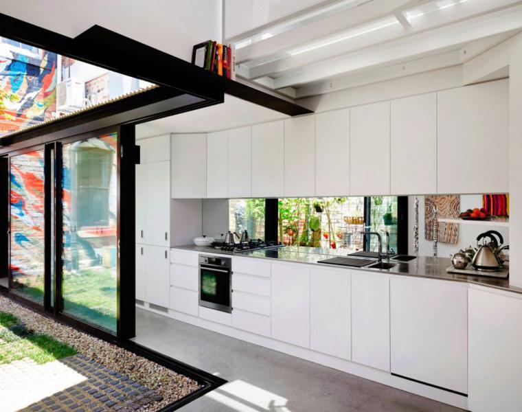 gabinetes de cocina minimalistas blancos