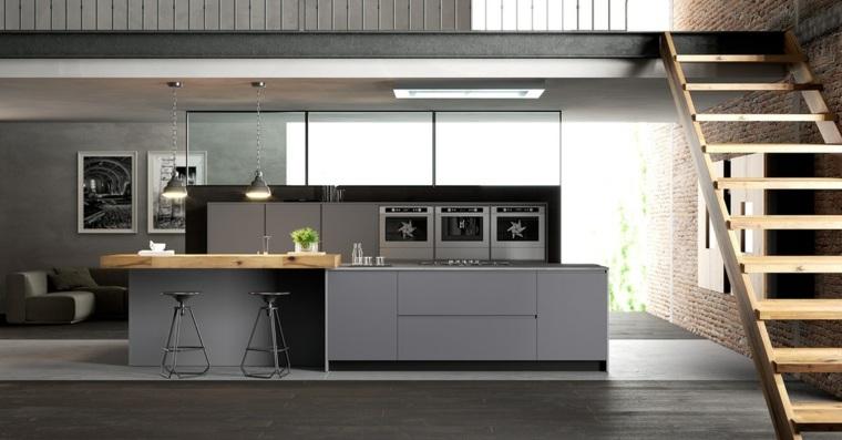 gris claro techo bajo cocina verdes