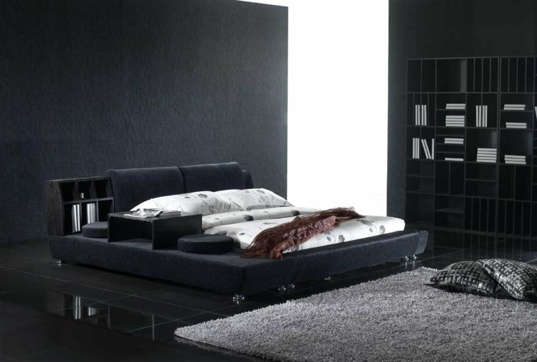 habitacion cama moderna negra