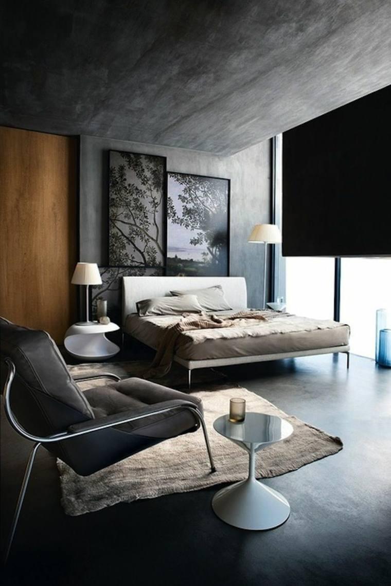 habitacion moderna pared cemento madera
