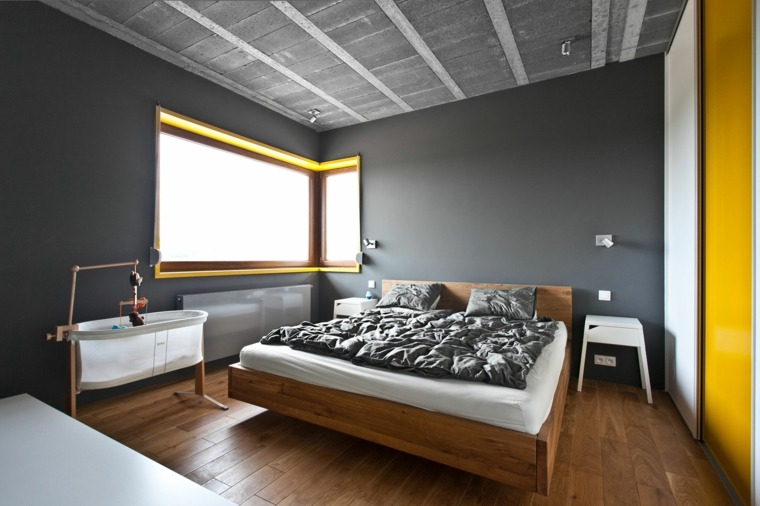 habitacion moderna paredes gris amarillo