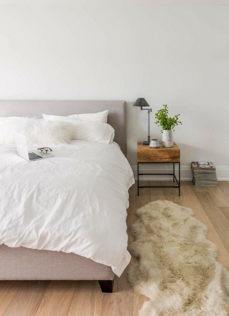 habitacion sencilla alfombra piel