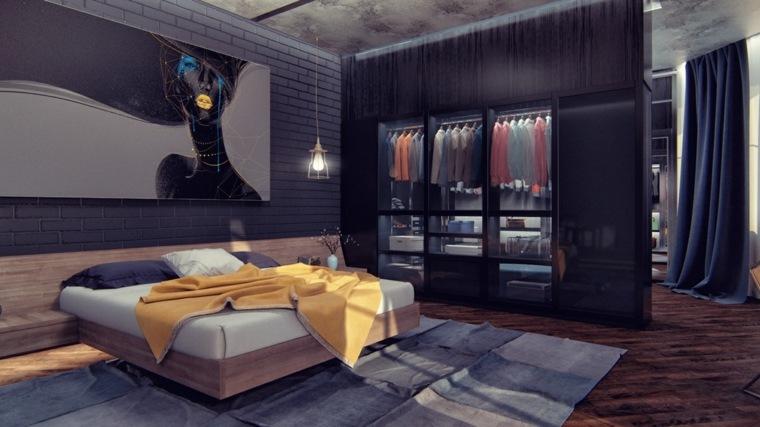 habitacion vestidor oscuro estilo moderno