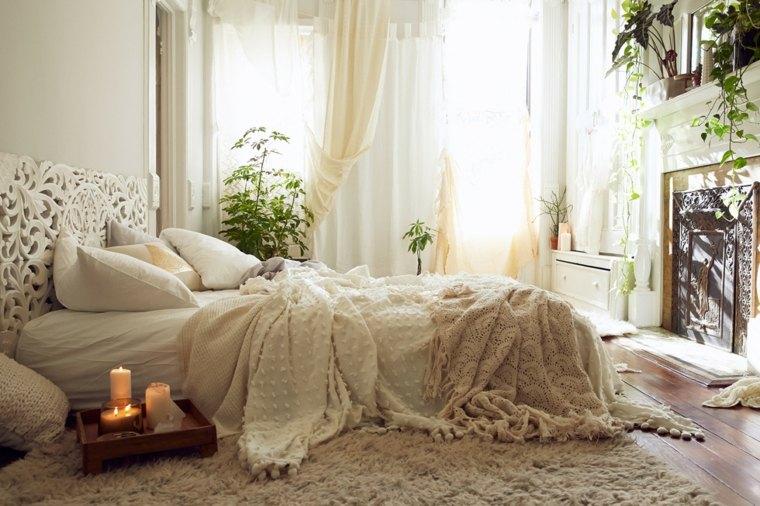 habitaciones en blanco interiores boho chic