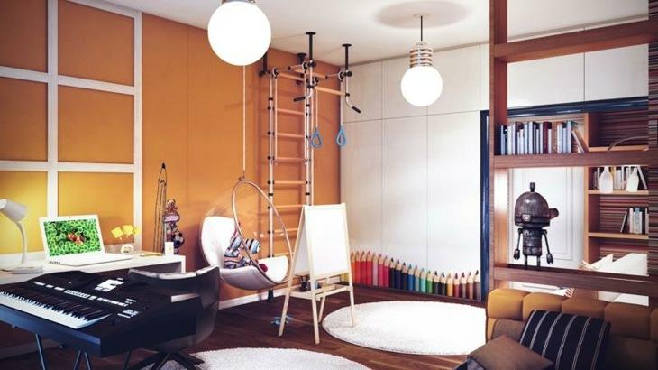 habitaciones infantiles ideas silla colgante rojos