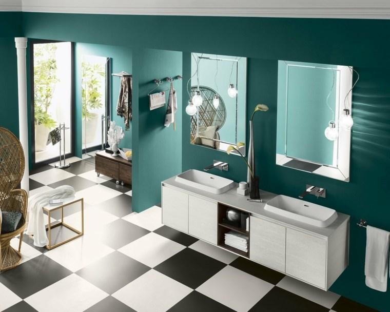 ideas para banos diseno espacio colorido moderno