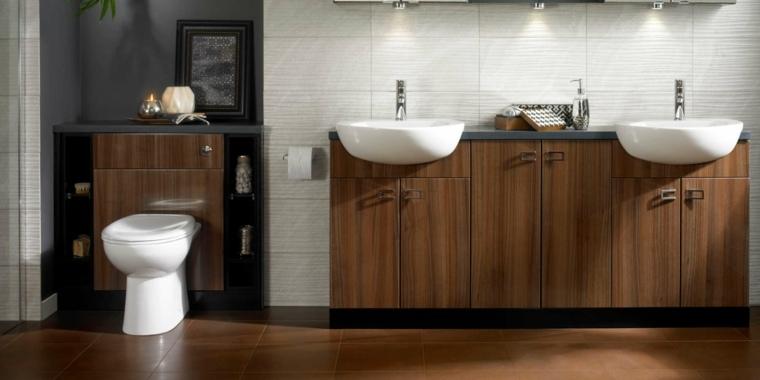 ideas para banos diseno lavabo madera moderno