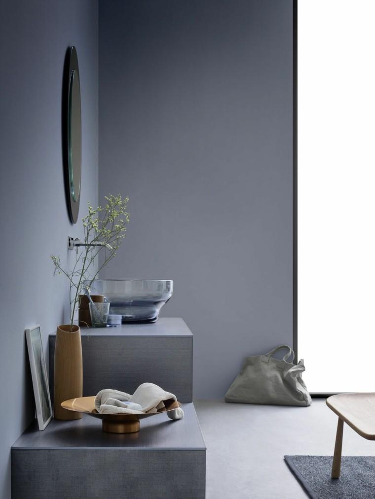 banos diseno paredes lavabo azul ideas