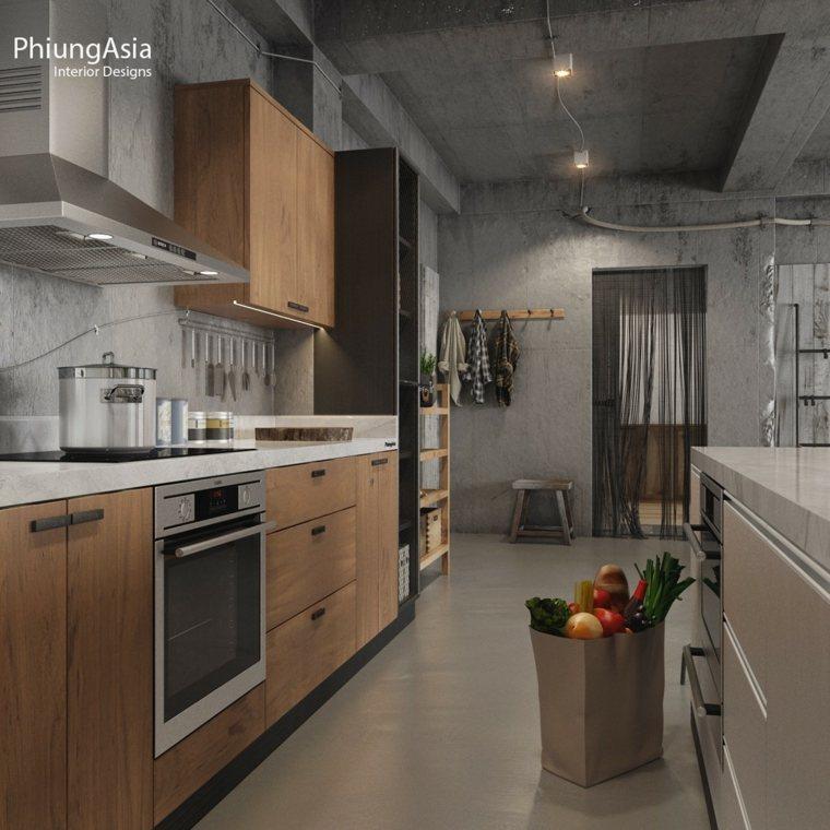 industrial cocina madera conreto materiales