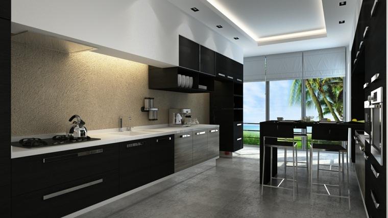 interiores de diseño negros modernos