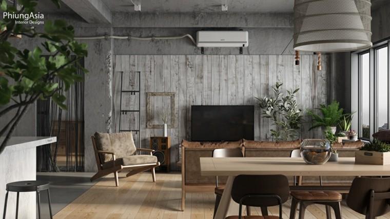 interiorismo asia madera paneles lamparas