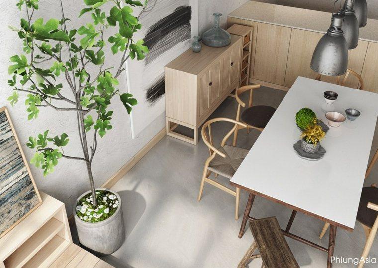 interiorismo asia plantas macetas muebles
