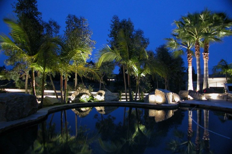 large garden lights rockery pool
