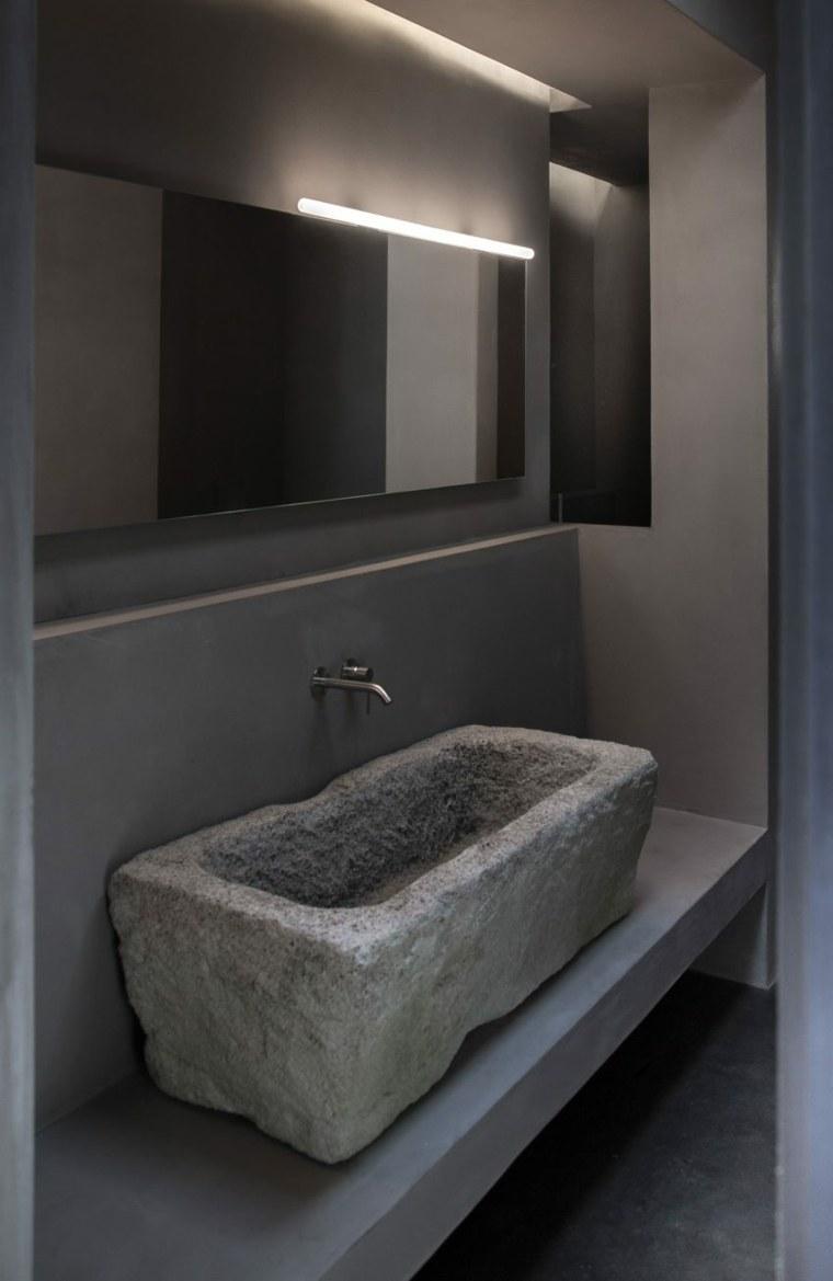 lavabo bano piedra diseno rustico casa ideas