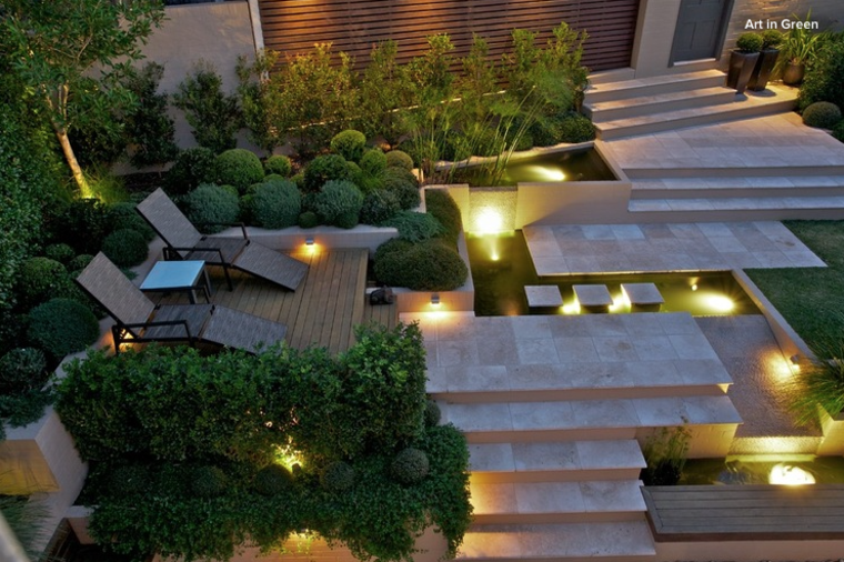 luces escaleras jardines modernos