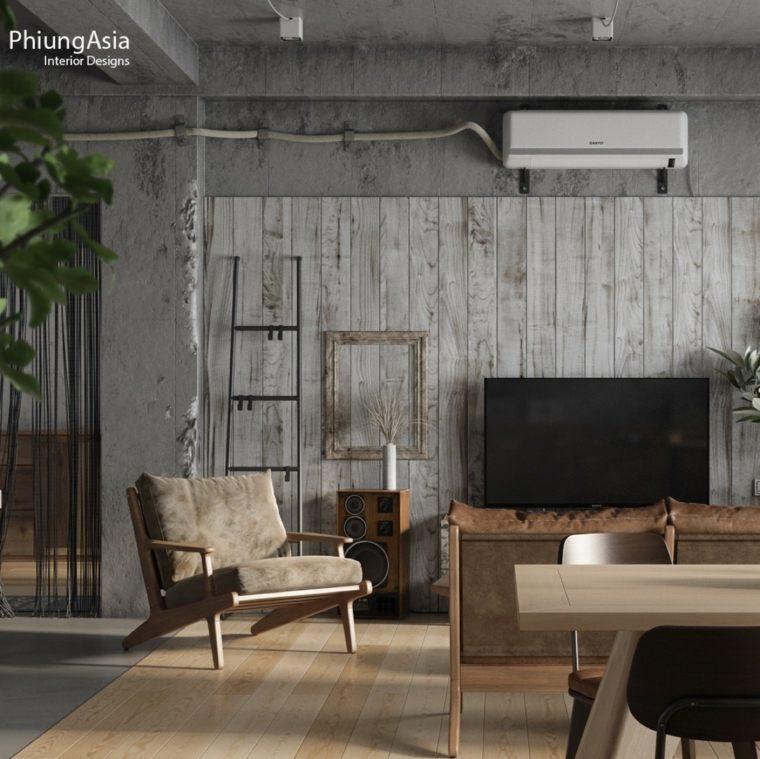 madera gris paneles plantas listones