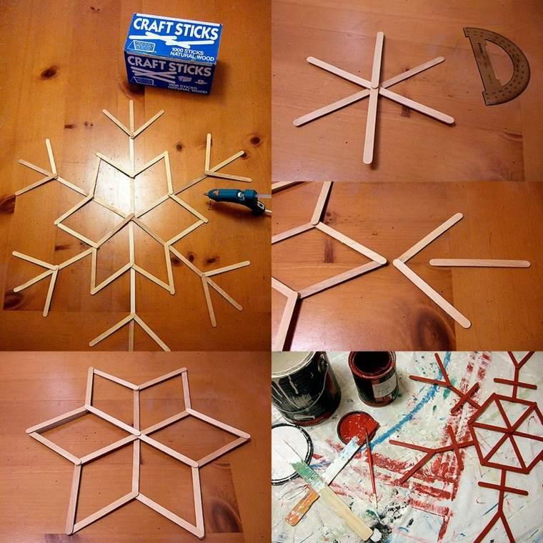 manualidades de navidad para ninos copos palitos ideas