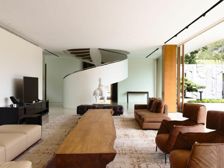 mesa madera escalera caracol moderna