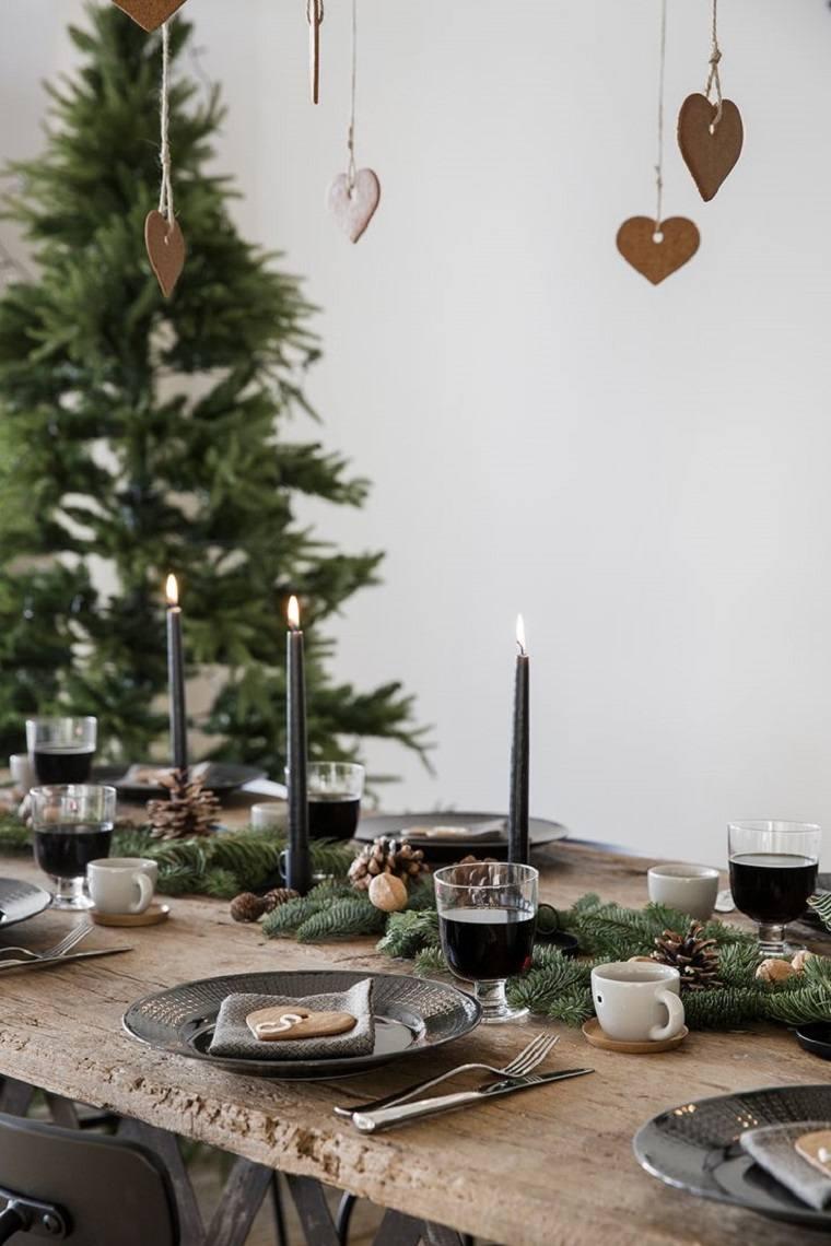 mesa madera estilo rustico decoracion navidena ideas