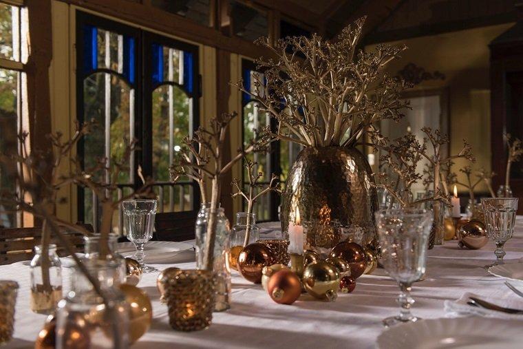 mesa navidad decoracion doradas bolas opciones ideas