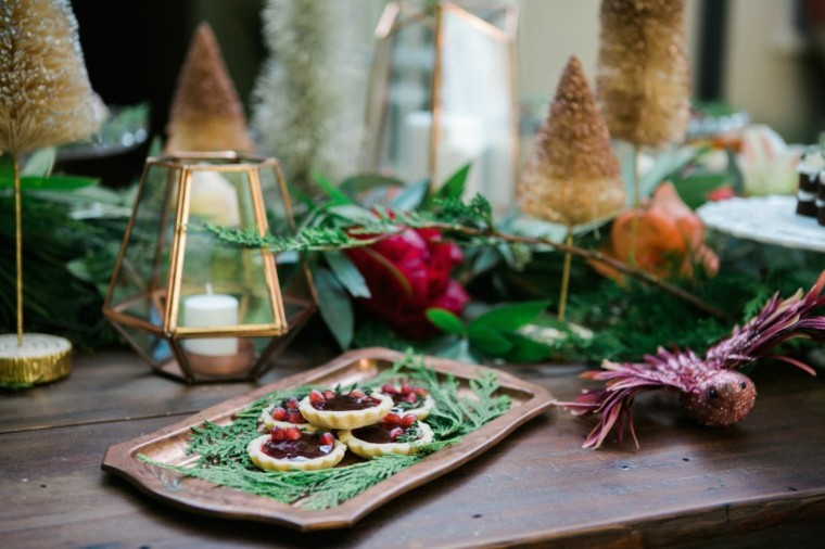 mesa de Navidad natural rustica