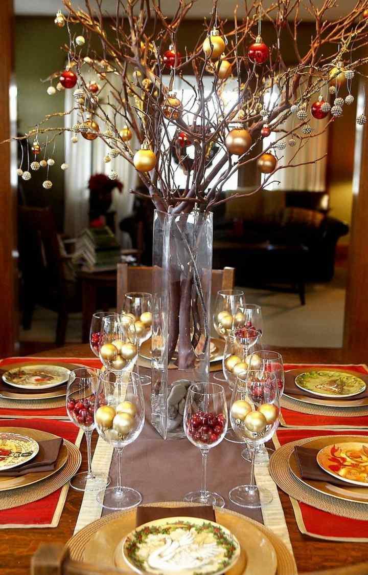 mesas de comedor decoracion manteles platos ramas