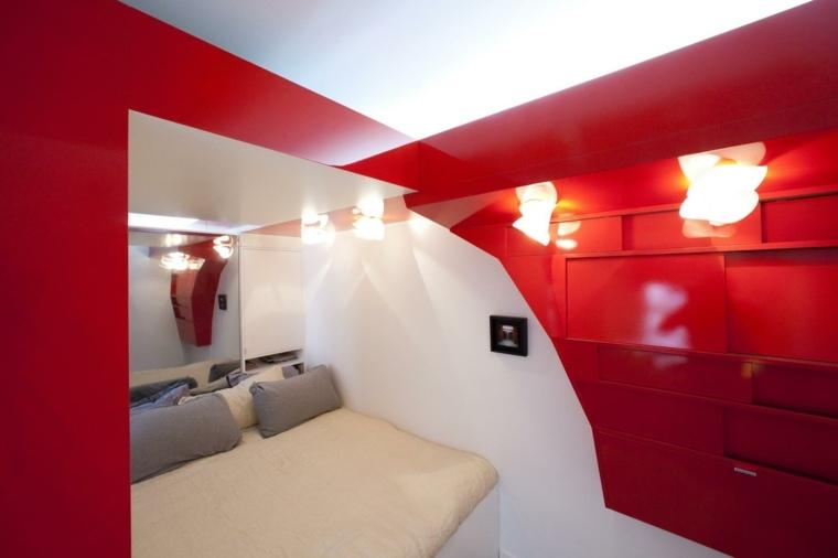 microapartamento cama moderna roja