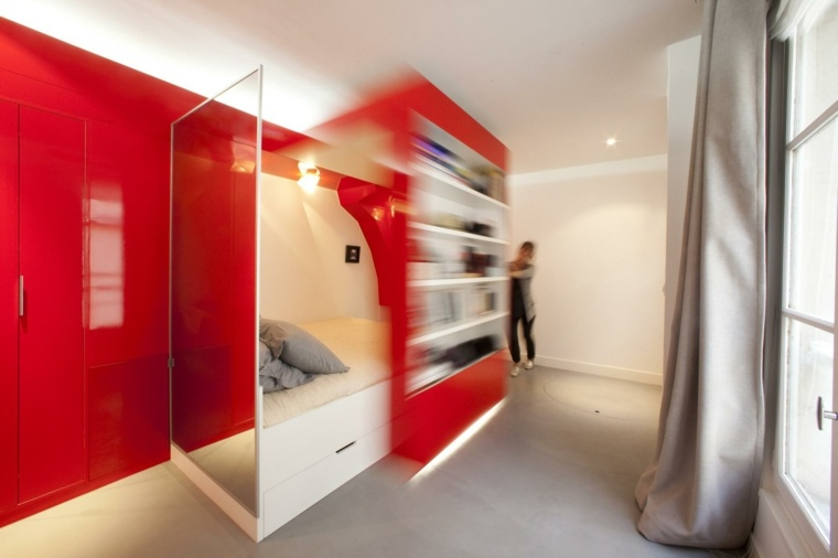 microapartamento color rojo lacado moderno
