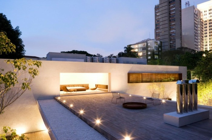 minimalista techo madera suelo lineas