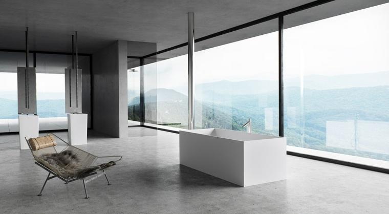 minimalista vistas iluminado bano cuero