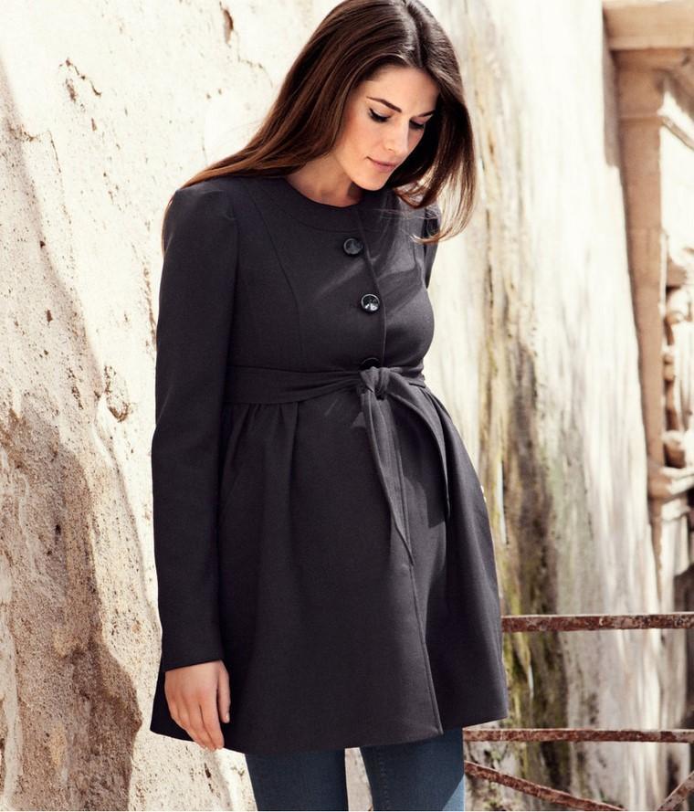 moda premama diseno invierno abrigo negro ideas