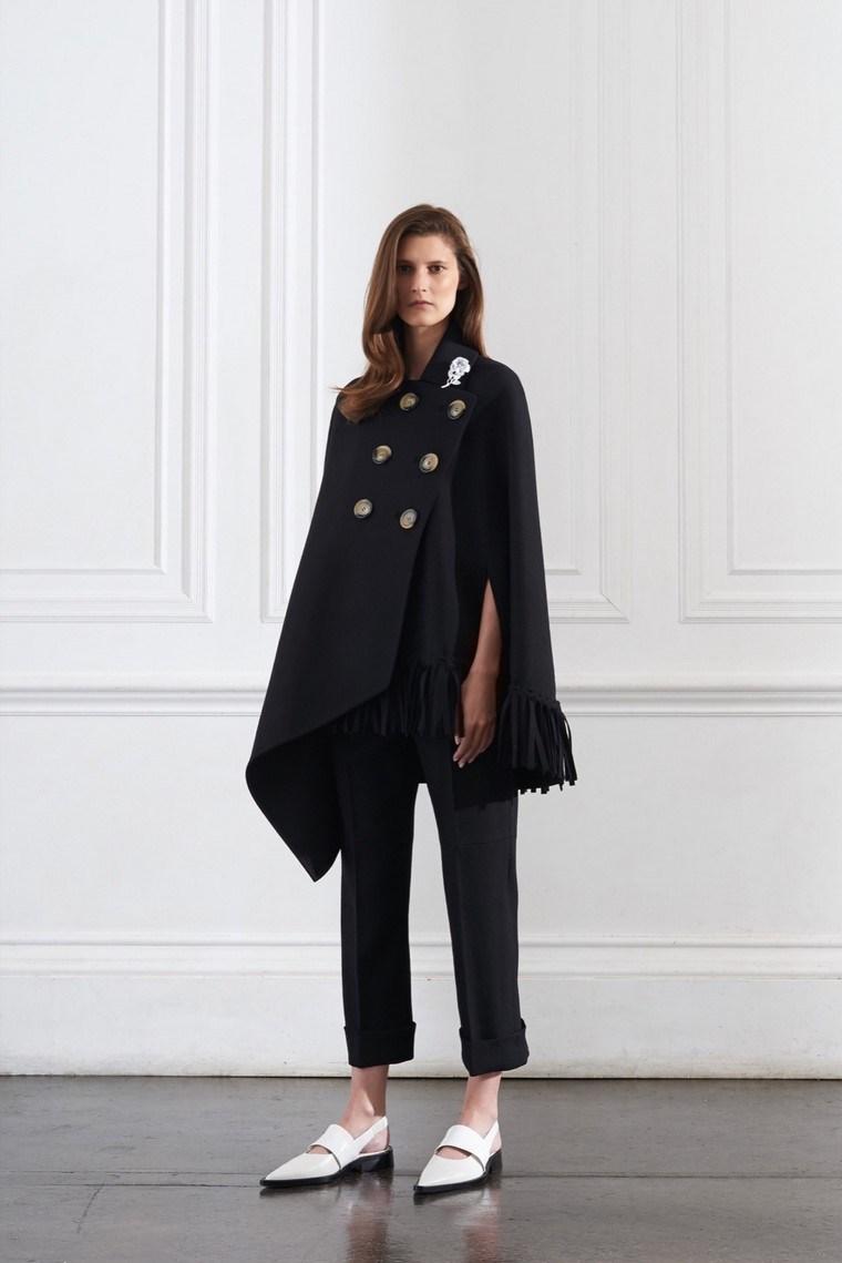 moda premama diseno invierno poncho negro ideas