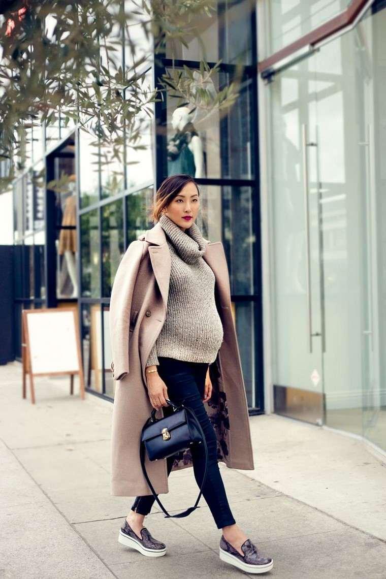 moda premama diseno invierno abrigo largo diseno moderno ideas