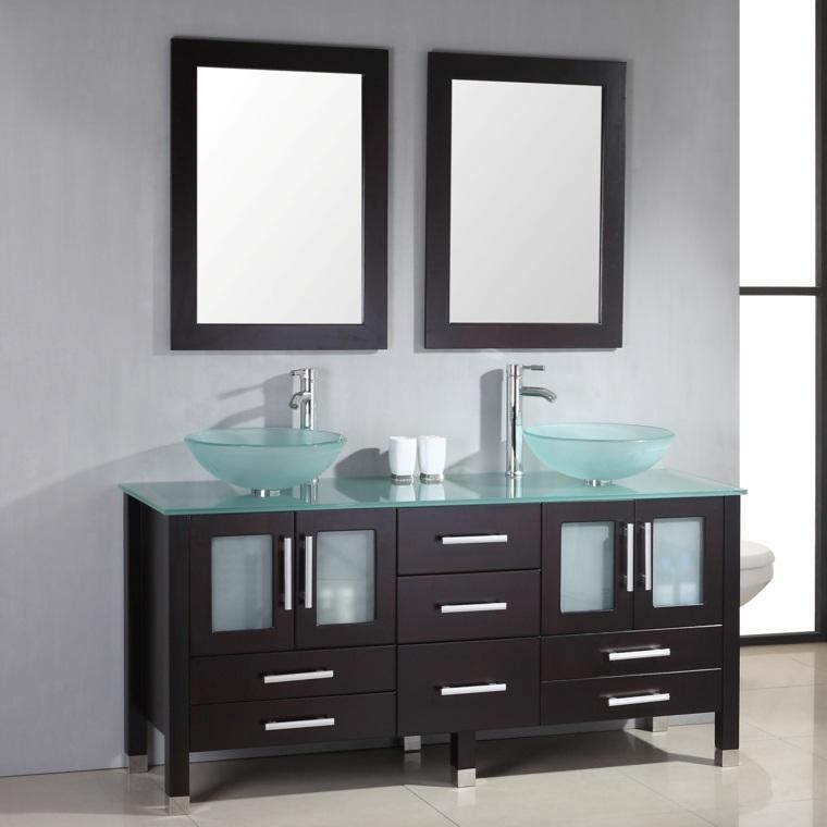 muebles de bao con lavabos de cristal