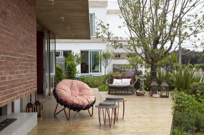 muebles modernos chimenea exterior colores