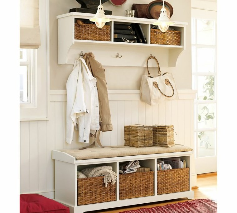 Bancos para recibidor modelos interesantes - Front entry storage ideas ...