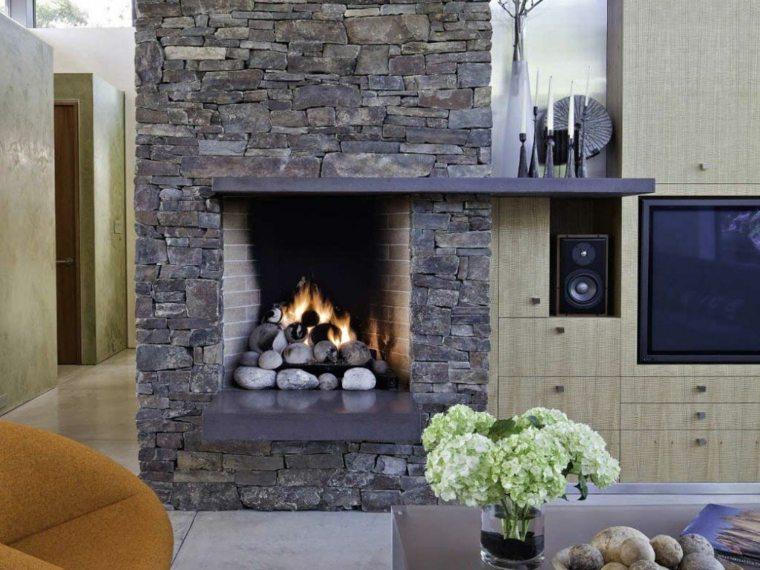 original chimenea piedra moderna