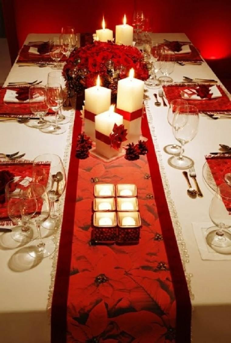 original decoración mesa mantel rojo