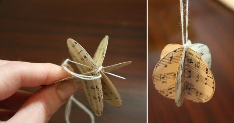 originales estrellas colgantes hojas partituras